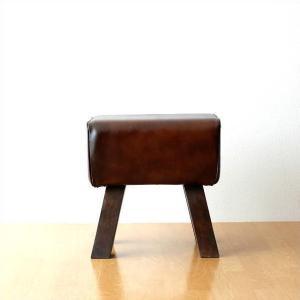 スツール 本革 木製 アンティーク おしゃれ 椅子 革製 ベンチ コンパクト リビング 玄関 インテリア レザーとウッドのスツール|gigiliving