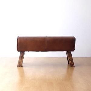 ベンチ 本革 木製 アンティーク おしゃれ スツール 革製 椅子 腰掛け 長椅子 リビング インテリア レザーとウッドのロングスツール|gigiliving