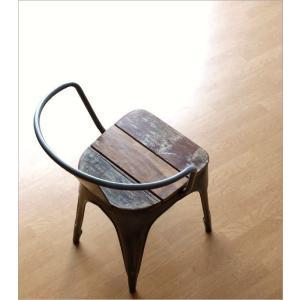 チェア 一人用 椅子 一人掛け おしゃれ アイアン 木製 レトロ シャビー アンティーク ヴィンテージ 1人用 1人掛け シルバーアイアンとウッドのチェアー|gigiliving|02