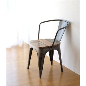 チェア 一人用 椅子 一人掛け おしゃれ アイアン 木製 レトロ シャビー アンティーク ヴィンテージ 1人用 1人掛け シルバーアイアンとウッドのチェアー|gigiliving|03