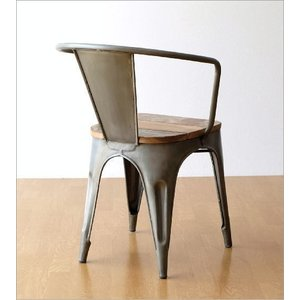 チェア 一人用 椅子 一人掛け おしゃれ アイアン 木製 レトロ シャビー アンティーク ヴィンテージ 1人用 1人掛け シルバーアイアンとウッドのチェアー|gigiliving|05