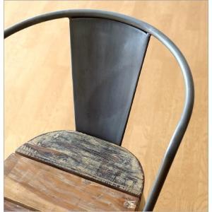 チェア 一人用 椅子 一人掛け おしゃれ アイアン 木製 レトロ シャビー アンティーク ヴィンテージ 1人用 1人掛け シルバーアイアンとウッドのチェアー|gigiliving|06
