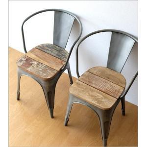 チェア 一人用 椅子 一人掛け おしゃれ アイアン 木製 レトロ シャビー アンティーク ヴィンテージ 1人用 1人掛け シルバーアイアンとウッドのチェアー|gigiliving|07