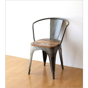 チェア 一人用 椅子 一人掛け おしゃれ アイアン 木製 レトロ シャビー アンティーク ヴィンテージ 1人用 1人掛け シルバーアイアンとウッドのチェアー|gigiliving|08