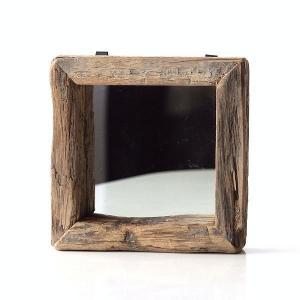鏡 壁掛けミラー 木製 シャビー レトロ ウォールミラー アンティーク ビンテージ コンパクト 四角 正方形 スクエア シャビーウッドの壁掛ミラー|gigiliving