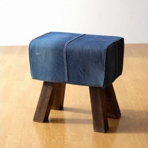 スツール デニム 木製 おしゃれ ベンチ 椅子 玄関 リビング インテリア アンティーク コンパクト リサイクルデニムスツールS|gigiliving