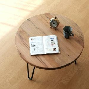 テーブル 丸 木製 アイアン 幅60cm シャビー アンティーク レトロ ちゃぶ台 座卓 天然木 丸型 円形 木目 ビンテージ シャビーな寄木のラウンドテーブル|gigiliving