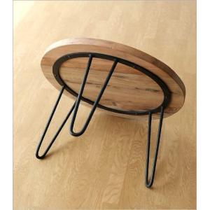 テーブル 丸 木製 アイアン 幅60cm シャビー アンティーク レトロ ちゃぶ台 座卓 天然木 丸型 円形 木目 ビンテージ シャビーな寄木のラウンドテーブル|gigiliving|04