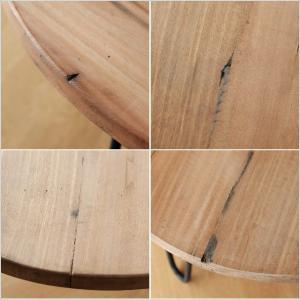 テーブル 丸 木製 アイアン 幅60cm シャビー アンティーク レトロ ちゃぶ台 座卓 天然木 丸型 円形 木目 ビンテージ シャビーな寄木のラウンドテーブル|gigiliving|05