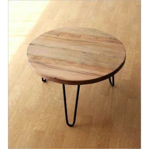 テーブル 丸 木製 アイアン 幅60cm シャビー アンティーク レトロ ちゃぶ台 座卓 天然木 丸型 円形 木目 ビンテージ シャビーな寄木のラウンドテーブル|gigiliving|06