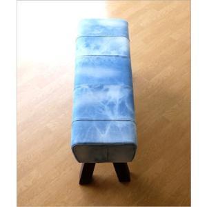 ベンチ デニム 木製 おしゃれ スツール 椅子 玄関 リビング インテリア アンティーク リサイクルデニムスツールBIG|gigiliving|03