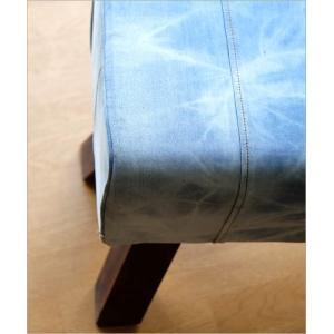 ベンチ デニム 木製 おしゃれ スツール 椅子 玄関 リビング インテリア アンティーク リサイクルデニムスツールBIG|gigiliving|04