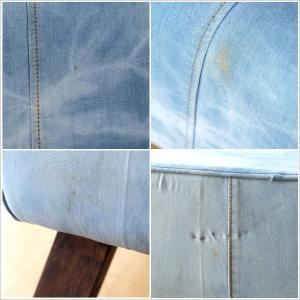 ベンチ デニム 木製 おしゃれ スツール 椅子 玄関 リビング インテリア アンティーク リサイクルデニムスツールBIG|gigiliving|06