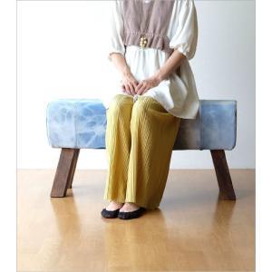 ベンチ デニム 木製 おしゃれ スツール 椅子 玄関 リビング インテリア アンティーク リサイクルデニムスツールBIG|gigiliving|07
