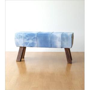 ベンチ デニム 木製 おしゃれ スツール 椅子 玄関 リビング インテリア アンティーク リサイクルデニムスツールBIG|gigiliving|08