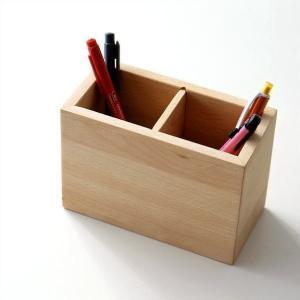 ペン立て 木製 ペンスタンド おしゃれ ペンたて 天然木 無垢 仕切り 木目 シンプル かわいい 鉛筆立て リモコンスタンド メガネスタンド ウッドペン立て ビーチ|gigiliving