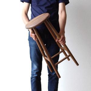 スツール 木製 椅子 おしゃれ 丸椅子 無垢 天然木 キッチンスツール カウンターチェア 高さ60cm ナチュラルウッドのハイスツール ウォールナット|gigiliving