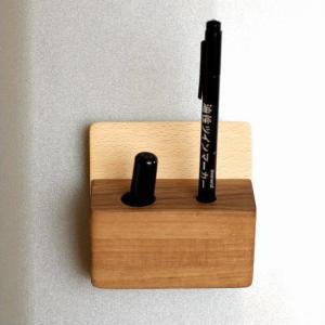 マグネット 印鑑スタンド ペンスタンド ペン立て 壁掛け 壁付け 磁石 木製 マグネット・印鑑スタンド|gigiliving