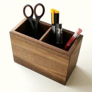 ペン立て ペンスタンド 木製 おしゃれ インテリア 天然木 ウォールナット ナチュラルウッドのペンたて B|gigiliving