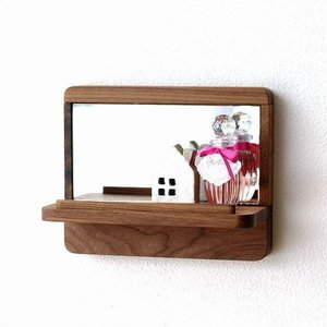 鏡 壁掛けミラー ウォールミラー 棚付き シェルフ シンプル ナチュラル おしゃれ 木製 天然木 ウッド 玄関 小型 コンパクト 飾り棚カガミS ウォルナット|gigiliving