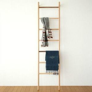 ラダーラック 棚 木製 天然木 タオル掛け はしご型ハンガー ナチュラルウッドのラダーハンガー L|gigiliving