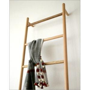 ラダーラック 棚 木製 天然木 タオル掛け はしご型ハンガー ナチュラルウッドのラダーハンガー L|gigiliving|03