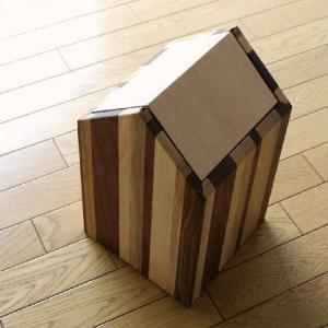 ごみ箱 木製 天然木 おしゃれ シンプル スイング インテリア ナチュラルウッドのダストボックス ハウスB|gigiliving