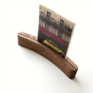 フォトスタンド 写真立て 木製 無垢 天然木 ナチュラルウッド メモスタンド カーブカードスタンドS ウォルナット|gigiliving