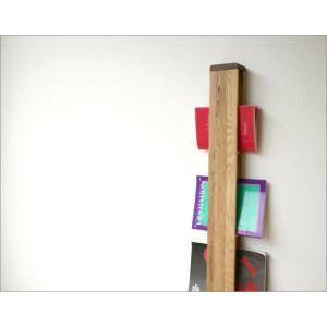 マガジンラック 木製 壁掛け おしゃれ スリム ナチュラルウッドのウォールマガジンラック|gigiliving|02