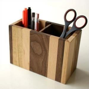 ペン立て ペンスタンド 木製 おしゃれ 天然木 ナチュラルウッドのモザイクペンたて|gigiliving