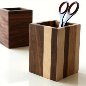 ペン立て 木製 ペンスタンド おしゃれ 天然木 無垢 シンプル かわいい 鉛筆立て リモコンスタンド メガネスタンド ナチュラルウッドのペンたて スクエア2タイプ|gigiliving