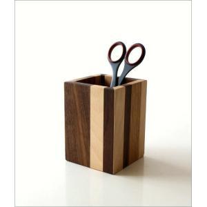 ペン立て 木製 ペンスタンド おしゃれ 天然木 無垢 シンプル かわいい 鉛筆立て リモコンスタンド メガネスタンド ナチュラルウッドのペンたて スクエア2タイプ|gigiliving|08