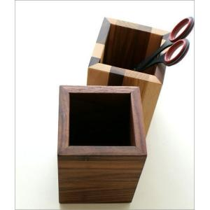 ペン立て 木製 ペンスタンド おしゃれ 天然木 無垢 シンプル かわいい 鉛筆立て リモコンスタンド メガネスタンド ナチュラルウッドのペンたて スクエア2タイプ|gigiliving|05