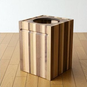 ゴミ箱 ごみ箱 木製 おしゃれ デザイン インテリア 天然木 ナチュラルウッドのスクエアダストボックス モザイク|gigiliving