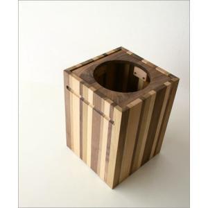 ゴミ箱 ごみ箱 木製 おしゃれ デザイン インテリア 天然木 ナチュラルウッドのスクエアダストボックス モザイク|gigiliving|02