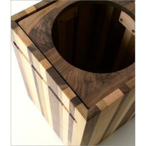 ゴミ箱 ごみ箱 木製 おしゃれ デザイン インテリア 天然木 ナチュラルウッドのスクエアダストボックス モザイク|gigiliving|03