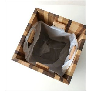 ゴミ箱 ごみ箱 木製 おしゃれ デザイン インテリア 天然木 ナチュラルウッドのスクエアダストボックス モザイク|gigiliving|05