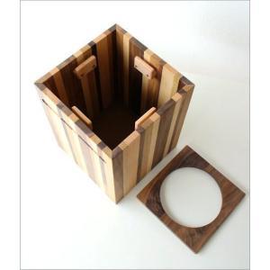 ゴミ箱 ごみ箱 木製 おしゃれ デザイン インテリア 天然木 ナチュラルウッドのスクエアダストボックス モザイク|gigiliving|06