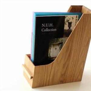 ファイルボックス A4 おしゃれ 木製 無垢材 ファイルラック タテ型 縦型 ファイル収納 卓上 机上 書類整理 ナチュラルウッドのファイルスタンド オーク|gigiliving