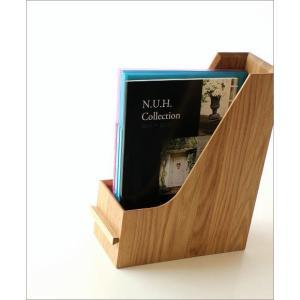 ファイルボックス A4 おしゃれ 木製 無垢材 ファイルラック タテ型 縦型 ファイル収納 卓上 机上 書類整理 ナチュラルウッドのファイルスタンド オーク|gigiliving|02