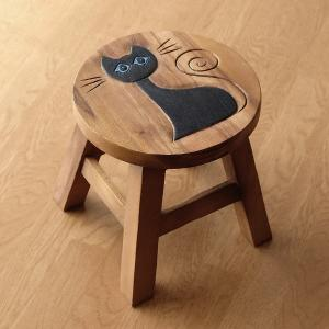 スツール 木製 椅子 いす イス ミニスツール 玄関 花台 ミニテーブル ウッドチェア おしゃれ 子供椅子 ネコさん|gigiliving