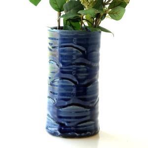 花器 陶器 おしゃれ 花瓶 花びん フラワーベース 和風 玄関 瀬戸焼 青釉円柱花入れ|gigiliving