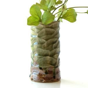 花器 陶器 おしゃれ 花瓶 花びん フラワーベース 和風 玄関 瀬戸焼 灰釉円柱花入れ|gigiliving