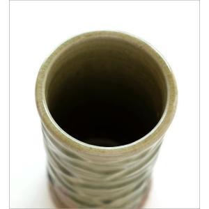 花器 陶器 おしゃれ 花瓶 花びん フラワーベース 和風 玄関 瀬戸焼 灰釉円柱花入れ|gigiliving|03