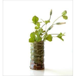 花器 陶器 おしゃれ 花瓶 花びん フラワーベース 和風 玄関 瀬戸焼 灰釉円柱花入れ|gigiliving|05