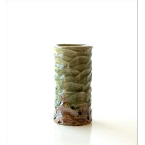 花器 陶器 おしゃれ 花瓶 花びん フラワーベース 和風 玄関 瀬戸焼 灰釉円柱花入れ|gigiliving|06