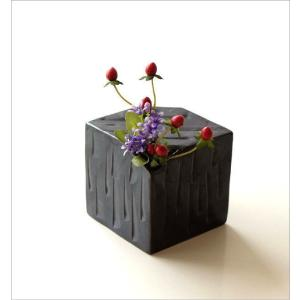 花器 陶器 おしゃれ 瀬戸焼 日本製 和風 花瓶 花びん フラワーベース 黒釉しのぎさいころ花入れ|gigiliving|02