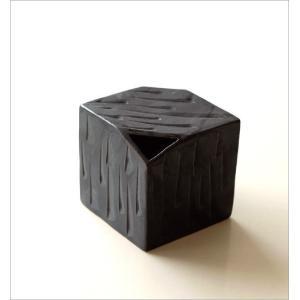 花器 陶器 おしゃれ 瀬戸焼 日本製 和風 花瓶 花びん フラワーベース 黒釉しのぎさいころ花入れ|gigiliving|05