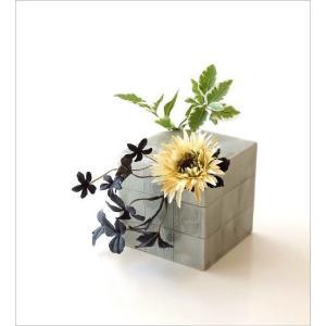 花器 陶器 おしゃれ 瀬戸焼 日本製 和風 花瓶 花びん フラワーベース 市松櫛目さいころ花入れ gigiliving 02