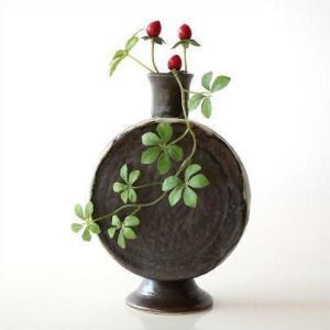花瓶 花びん 陶器 花器 おしゃれ 一輪挿し 和風 瀬戸焼 黒釉 太鼓型花入れ|gigiliving